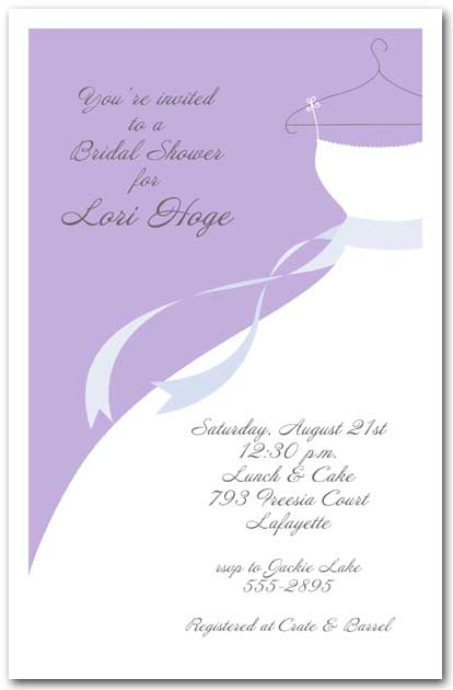 wedding gown on lilac bridal shower invitations
