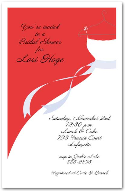 wedding gown on red bridal shower invitation