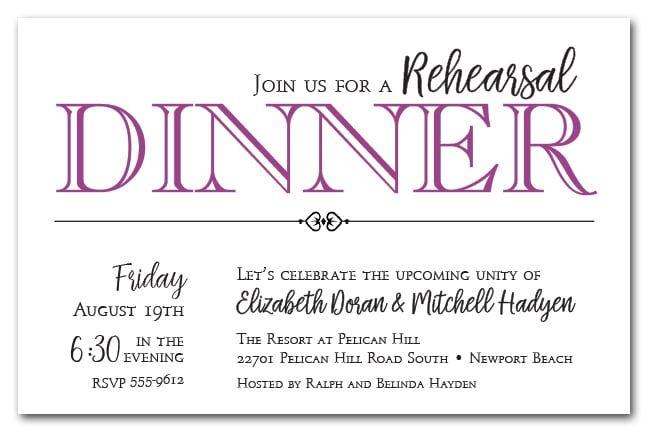 plum wedding rehearsal dinner party invitations