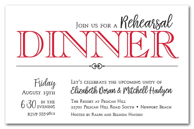 red wedding rehearsal dinner party invitations
